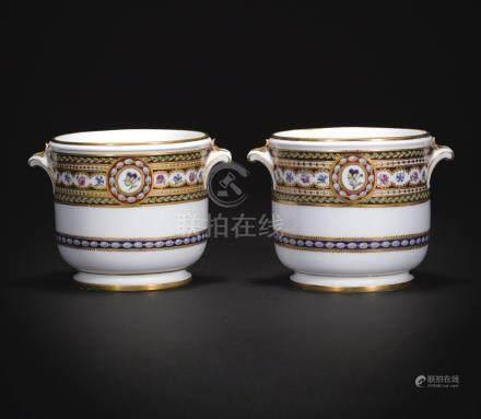 Two Sèvres (soft-paste) porcelain glass coolers from the Service à frise riche en Couleurs et Riche en or for the Comtesse d'Artois, 1789