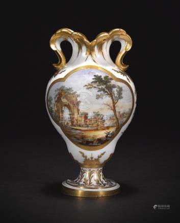 A fine Sèvres (hard-paste) porcelain vase, 1773, painted by Nicolas Schradre