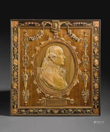 "An Italian carved limewood, walnut, tulipwood, ebony and fruitwood ""microscultura"" relief self-portrait by Giuseppe Maria Bonzanigo, dated 1796"