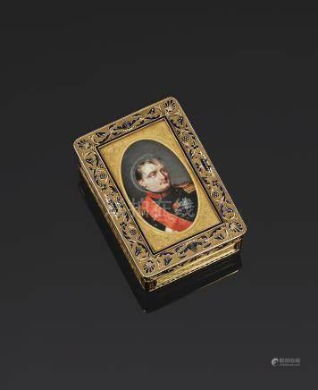 A gold and enamel Imperial presentation portrait snuff box, Gabriel-Raoul Morel, Paris, 1812-1815