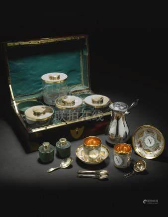 Princess Pauline Borghese. An ImperialFrench silver, silver-gilt,and Paris porcelain chocolatière de voyage, retailed by Martin-Guillaume Biennais, Paris, circa 1800