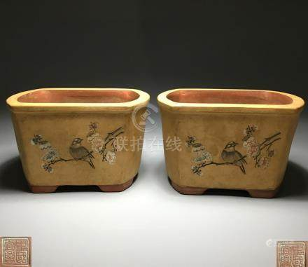 PAIR OF FLORAL AND BIRDS JARS