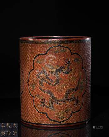 LACQUERWARE DRAGON PATTERNED PEN HOLDER