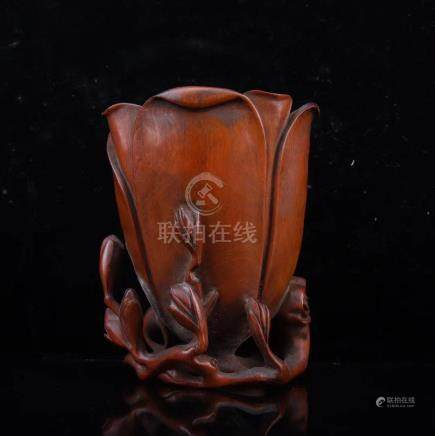 A HUANGYANG WOOD FLOWER PATTEN BRUSH POT