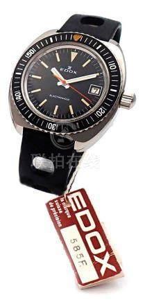 EDOX DIVER ELECTRONIQUE  BLACK 20 ATU VERS 1969 MONTRE SUBMARINE  à grande ouverture de for