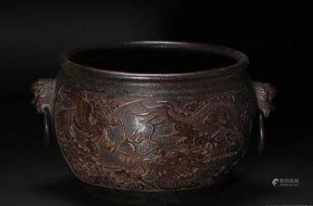 Qianlong Mark, A Carved Bronze Censer