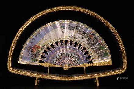 A Gilt Bronze Fan-Shaped Screen