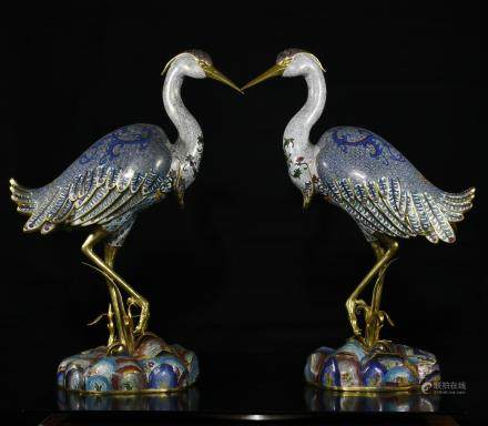 A Pair of Bronze Cloisonne Cranes