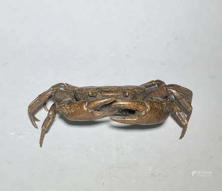 A Carved Bronze Crab