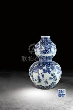 清  青花人物故事紋葫蘆瓶