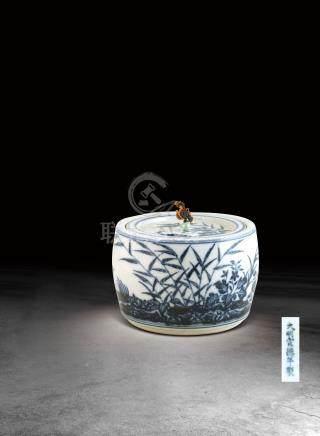 明  青花花鳥紋蟋蟀罐