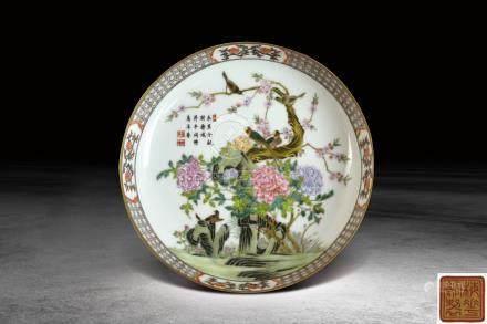 清  琺瑯彩花鳥紋盤