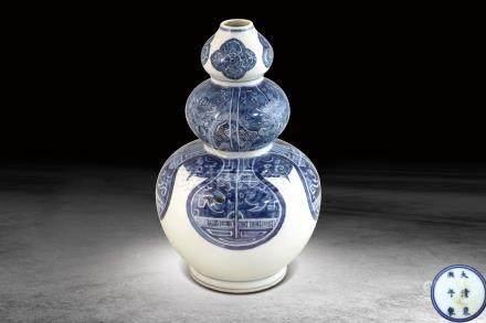 清  青花獸面紋葫蘆瓶