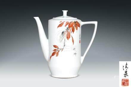 現代  馮清泉繪花鳥紋慶祝中華人民共和國成立五十周年紀念茶壺