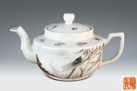 民國  余翰青繪柳蟬紋茶壺
