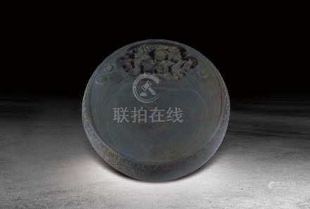 民國  帶眼龍紋鼓型端硯