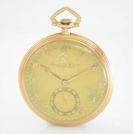 IWC 14k pink gold open face pocket watch calibre 73