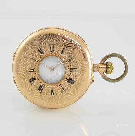 Half-hunter pocket watch in 14k pink gold