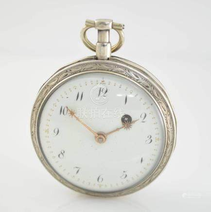 Verge watch with unusual movement in silver