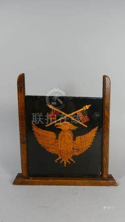 An Folk Art Wooden Panel Painted with an Eagle Flanked by Union Jack and American Flags,