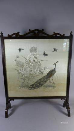 An Edwardian Mahogany Framed Fire Screen Containing Earlier Oriental Silk Embroidery Panel