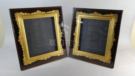 A Pair of Exceptional Gilt Moulded Frames for Porcelain Plaques Themselves Set in Wall Hanging or
