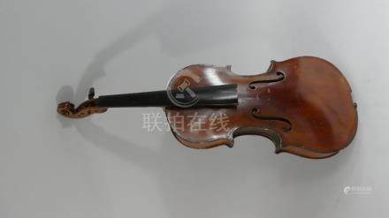A 19th Century Violin and Bow. For Restoration, Flame Maple Back and Sides. With a Spruce Top.