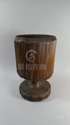 A Large Late 19th Century Continental Carved Wooden Urn.