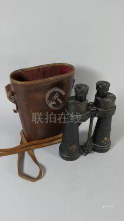 A Pair of Leather Cased War Department Binoculars by Barr and Stroud, No.