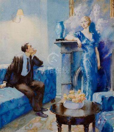 NORMAN LINDSAY 1879-1969 Woman Enchanting Man (circa 1932) w