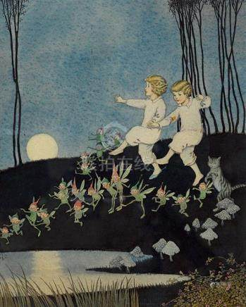 IDA RENTOUL OUTHWAITE 1888-1960 (Two Children Dancing in the