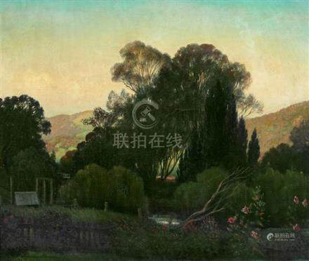 CHARLES MEERE 1890-1961 Jones Bridge Tumut River oil on canv