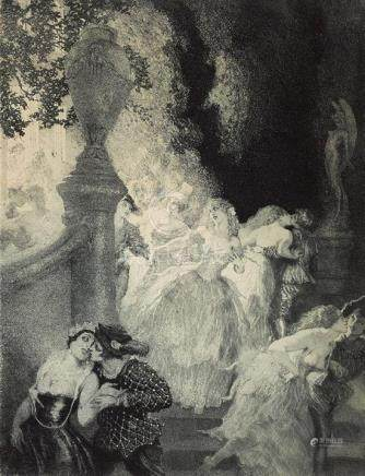 NORMAN LINDSAY 1879-1969 Night's Garden (1927) etching, aqua