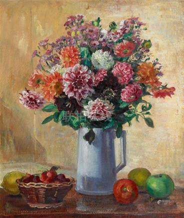 NORA HEYSEN 1911-2003 Summer Fruit and Flowers 1953 oil on p