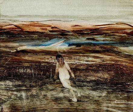§ SIDNEY NOLAN 1917-1992 Leda and Swan (1961) oil on paper o