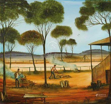 PRO HART 1928-2006 Cleaning the Course oil on canvas 70 x 75