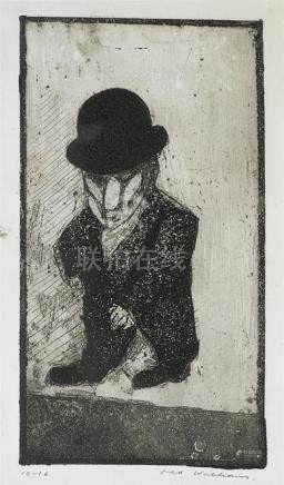 FRED WILLIAMS 1927-1982 Little Man (1955-1956) etching, aqua