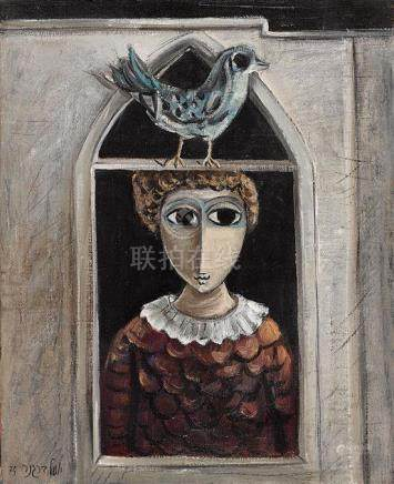 YOSL BERGNER 1920-2017 Girl with Bird Above oil on canvas 33