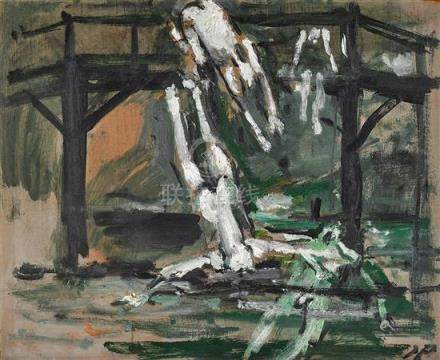JOHN PASSMORE 1904-1984 Four Bathers at a Bridge oil on comp