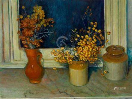 § MARGARET OLLEY 1923-2011 Everlasting Daisies (1974) oil on