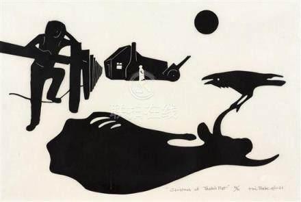 § ERIC THAKE 1904-1982 Christmas at Thake's Flat 1961 linocu