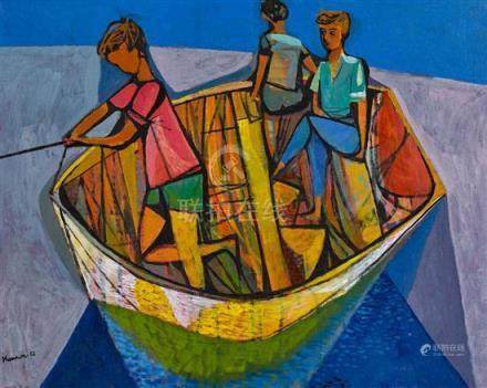 MICHAEL SHANNON 1927-1993 Three Boys in a Boat 1952 oil on c
