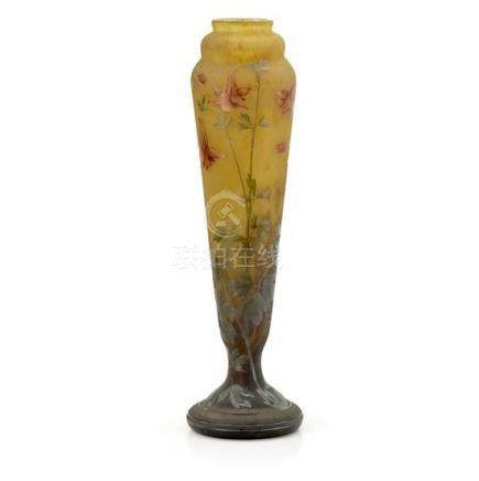 A large Daum Nancy 'Columbines' cameo glass vase, French, ci