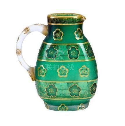 A Daum Nancy 'Fleurettes' cameo glass jug, French, circa 190