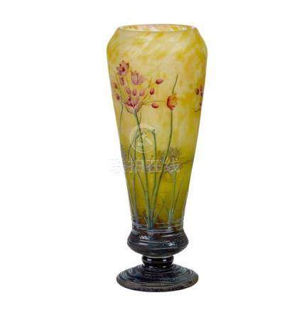 A large Daum Nancy 'Bell Flowers' cameo glass vase, French,