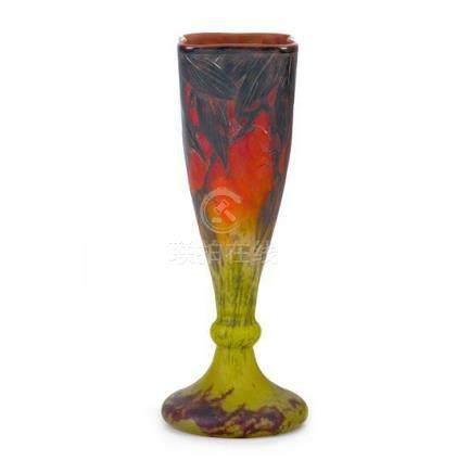 A Daum Nancy cameo glass vase, French, circa 1915 30 cm high