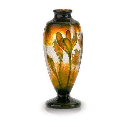 A rare Daum Nancy 'Crocus' fire polished martelé cameo glass