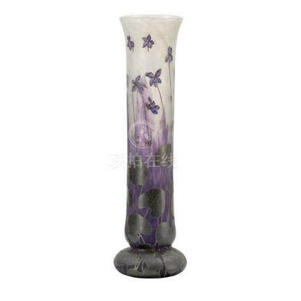 A large Daum Nancy 'Lilies' cameo glass vase, French, circa
