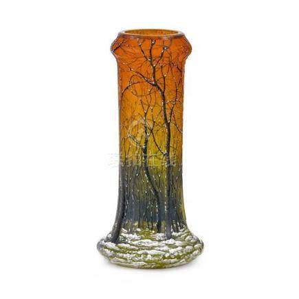 A 'Winter Landscape' cameo glass vase, attributed to Daum Na
