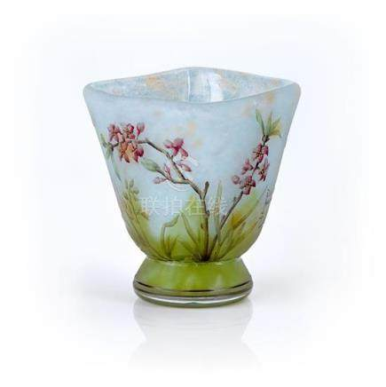 A Daum Nancy 'Bell Flowers' cameo glass vase, French, circa